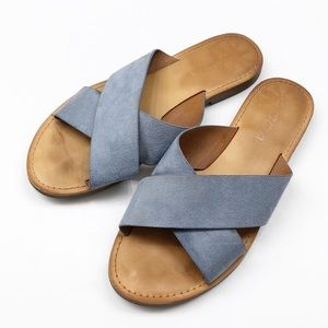 Soda blue criss cross slides / sandals